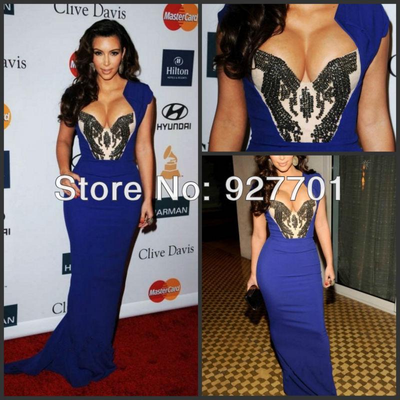 Op maat gemaakt 2012 kim kardashian decollete pre grammy schede sexy kristal blauwe chiffon celebrity/prom