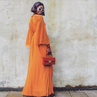 sunglasses orange dress orange long dress handbag small bags orange bag white sunglasses retro sunglasses dress