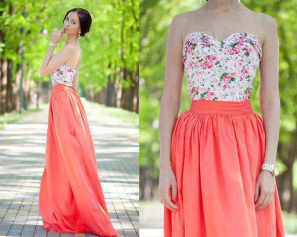 dress pink flowers rose white maxi long dress pretty spring