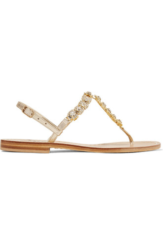 metallic embellished sandals leather sandals leather gold shoes