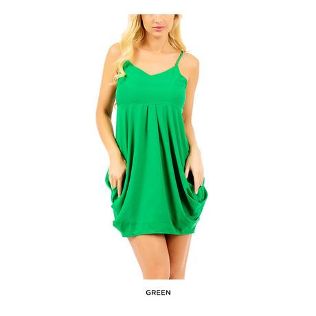 Draped Tulip Zipper-Back Dress with Spaghetti Straps - Assorted Colors | nomorerack.com