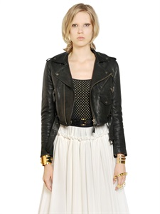 Cropped nappa leather biker jacket