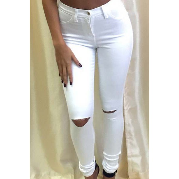 Solid Color Knee Cut Out Frayed Bodycon Jeans For Women