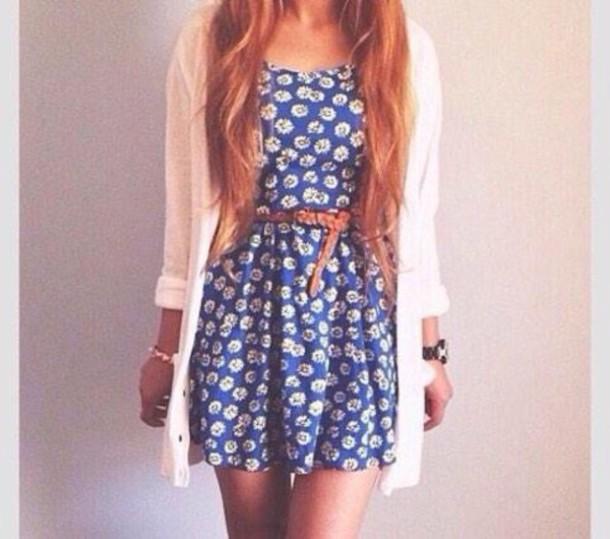 dress blue dress cute dress flowers summer dress