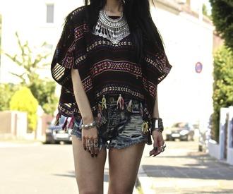 top tassel pom pom aztec ethno poncho colourful boho bohemian gypsy nail accessories nail polish pants home accessory
