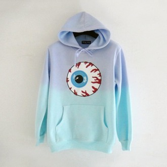 sweater blue fashion pullover jumper lilac hoodie eyeball long sleeves adorable outfit teenagers pastel grunge pastel winter outfits
