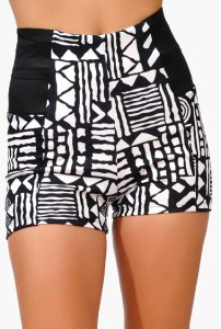 Black White Tribal Print Shorts Hotpants High Elastic Waist Aztec Boho Edgy | eBay