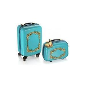 bag blogger h&m suitcase glamour wow lush blue bag light blue gold sequins decoration pattern fashion holidays blue and gold luggage wheels big nice stylish pretty cute bag baggage fashionables gold bag holiday shop summer holidays