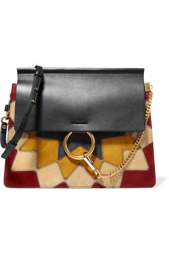 patchwork bag shoulder bag leather suede black