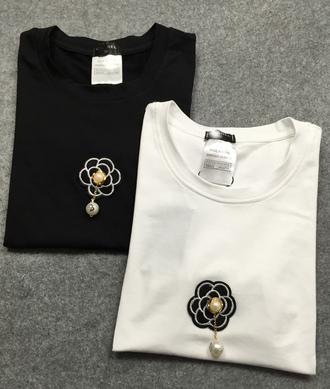 t-shirt camellia chnael pearl tee original brand tag