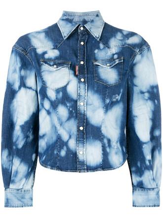shirt denim shirt denim women spandex cotton blue pattern top
