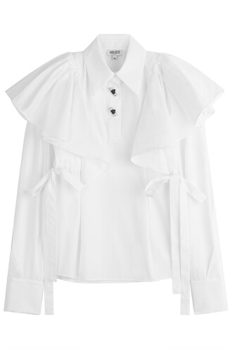 shirt bows cotton white top