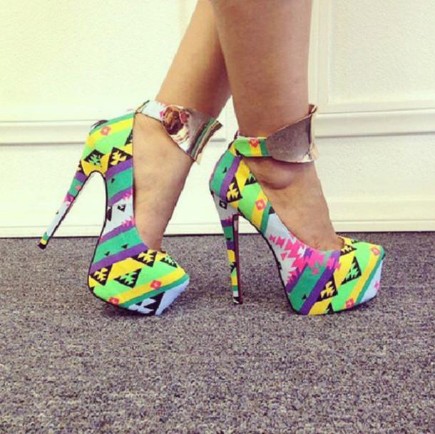 Shoes: aztec shoes, colorful, aztec, pumps, high heels ...
