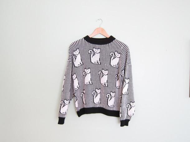 sweater cats cats black b&w stripes pixel pixels cute kawaii neko