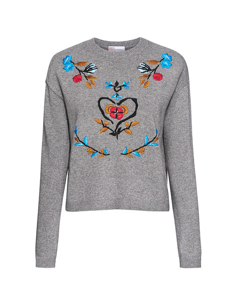 RED VALENTINO sweater embroidered floral grey