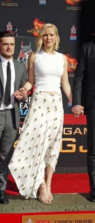 skirt top asymmetrical skirt jennifer lawrence maxi skirt sandals