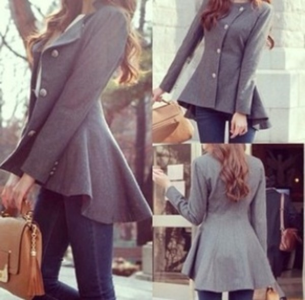 coat grey buttons light brown dark blue jeans skinny jeans bag jeans jacket elegant coat high low jacket winter coat