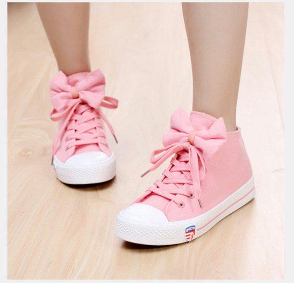 shoes pink bow tennis shoes