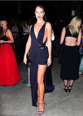 dress,gown,asymmetrical,sandals,rosie huntington-whiteley,prom dress,bag