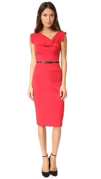 dress belted dress red