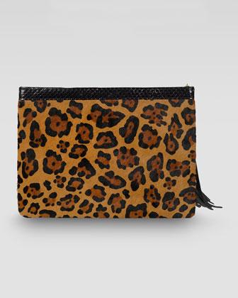 Rafe Celia Large Leopard-Print Calf Hair Clutch - Neiman Marcus