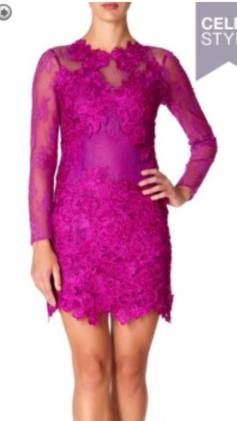 dress fuchsia pink lace dress