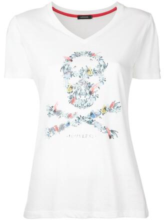 t-shirt shirt skull women white cotton print top