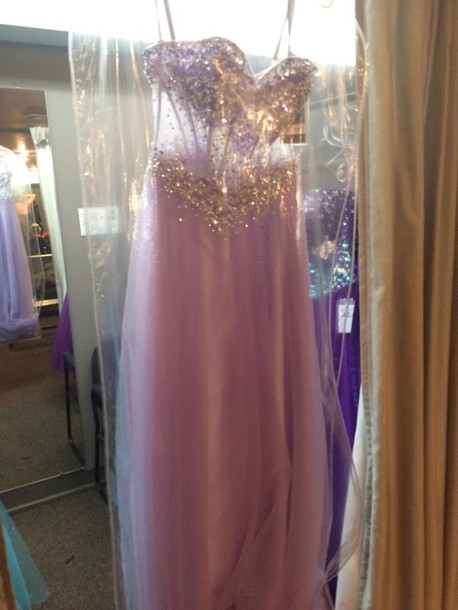 dress lilac prom dress transparent sparkle sequins