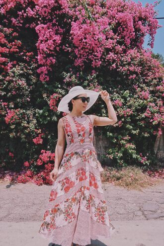 dress tumblr floral floral dress floral maxi dress maxi dress sleeveless sleeveless dress hat big hat sunglasses