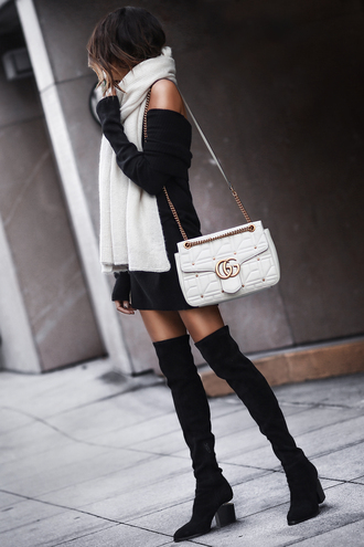 fashionedchic blogger gloves scarf sweater shoes bag fall outfits boots over the knee boots gucci bag