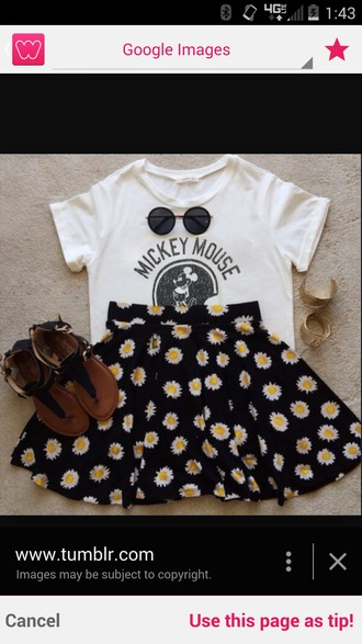 skirt daisy skirt mickey mouse sweater mickey mouse shirt sunglasses outside outfit cute skirts cute top top t-shirt