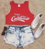 coca cola,california,coca cola red croptop,shorts,tank top,top,crop tops,california top,summer top,red,white,stone wash,denim,jeans,fashion,converse,sunglasses,blogger,urban,swag,grunge,vintage,indie,shirt,blouse,summer,red coca cola top