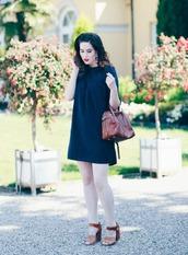 like a riot,blogger,dress,bag,jewels,top,shoes,mini dress,navy dress,handbag,high heel sandals