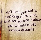 sweater,panic! at the disco,band,punk,pop,merch,brendon urie,quote on it