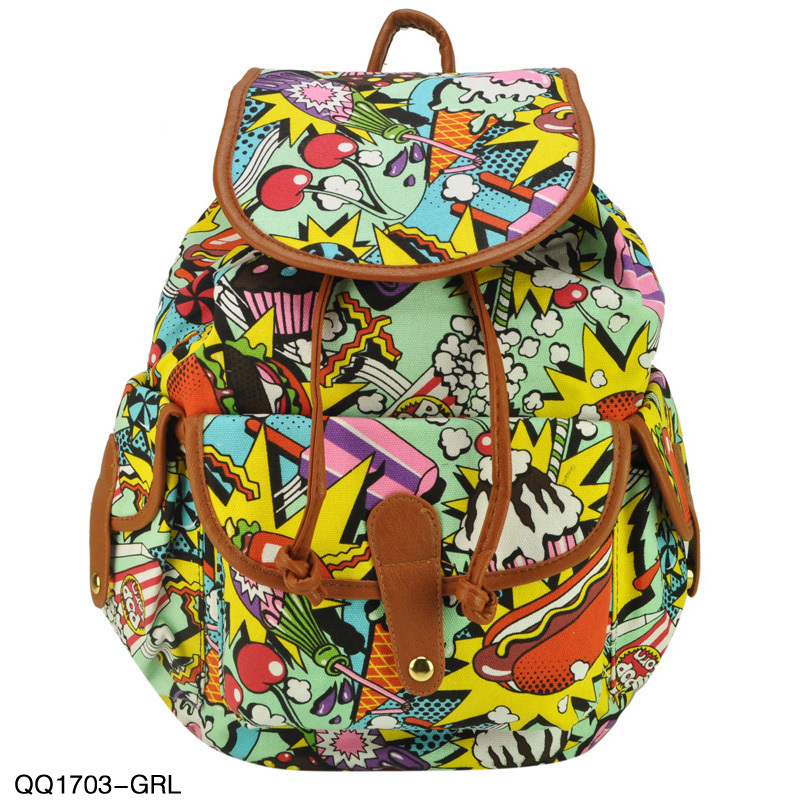 Free Shipping 2014 New Arrival Colourful Printing Backpack For Students  School Rucksack Shoulder Bags Light Green ... 58c2cf5010