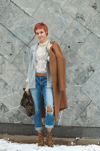 gvozdishe blogger coat jacket bag shoes jeans camel coat fall outfits white lace top grey jacket ankle boots
