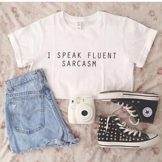 blouse t-shirt oversized t-shirt funny tshirt shirt i speak fluent sarcasm white t-shirt black words tumblr shirt tumblr clothes