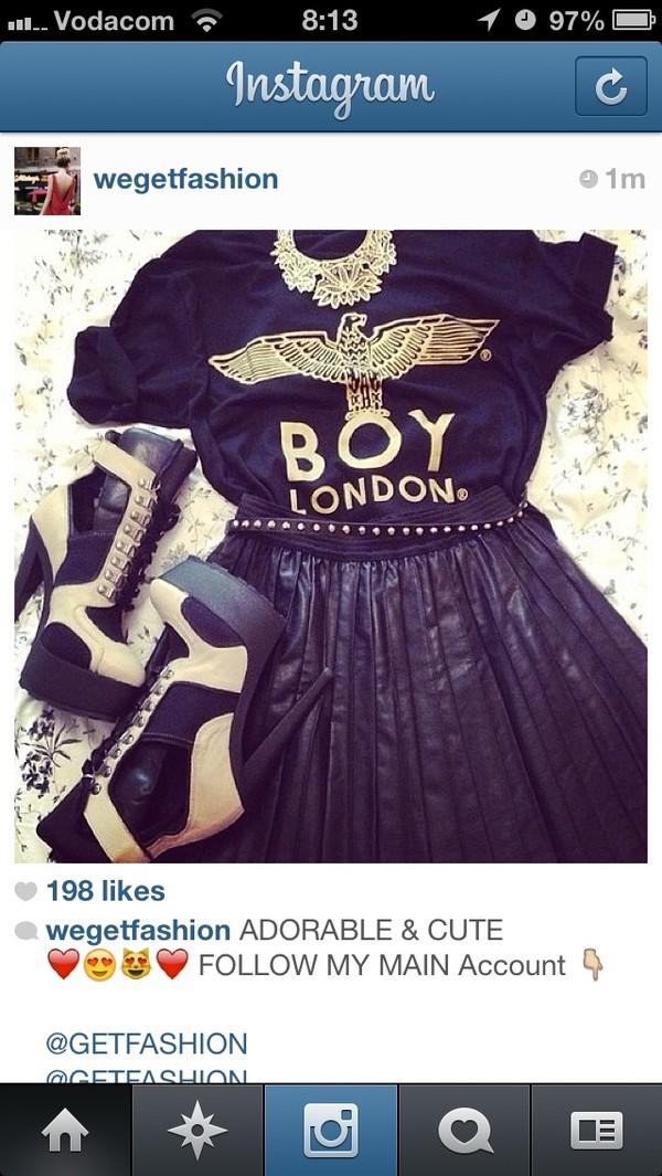 shoes fashion skirt instagram boylondon t-shirt jewels instagram