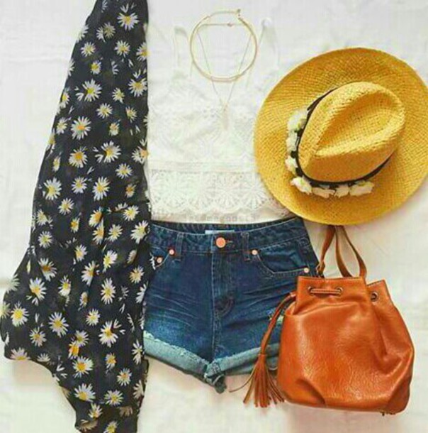 blouse white top floral black top hat bag shorts fashion chic girl outfit necklace cute top instagram