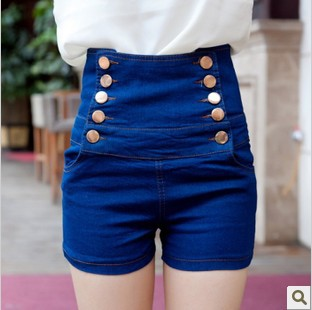 and summer women's high waist double breasted shorts female ...