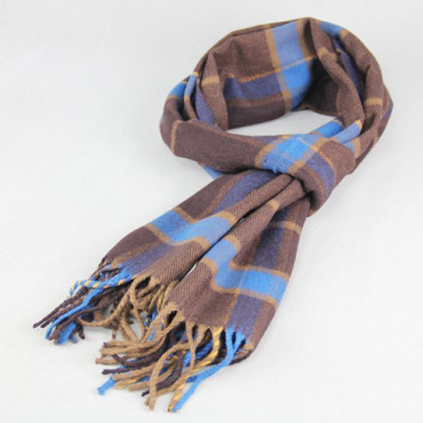 Fashionable Tartan Pattern Tassel Warmth Scarf For Men