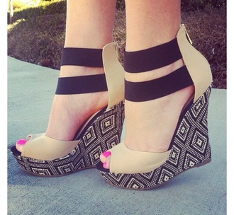 shoes wedges tall print straps