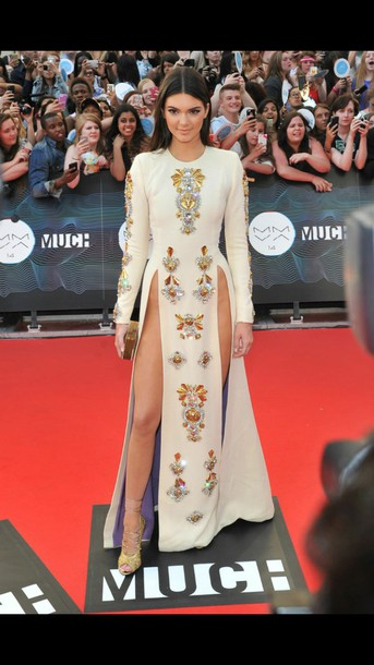 beige dress kendall jenner slit dress red carpet dress couture dress dress