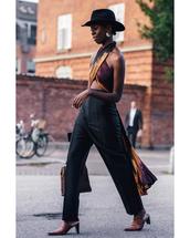 pants,wide-leg pants,mules,black pants,crop tops,felt hat,earrings,handbag