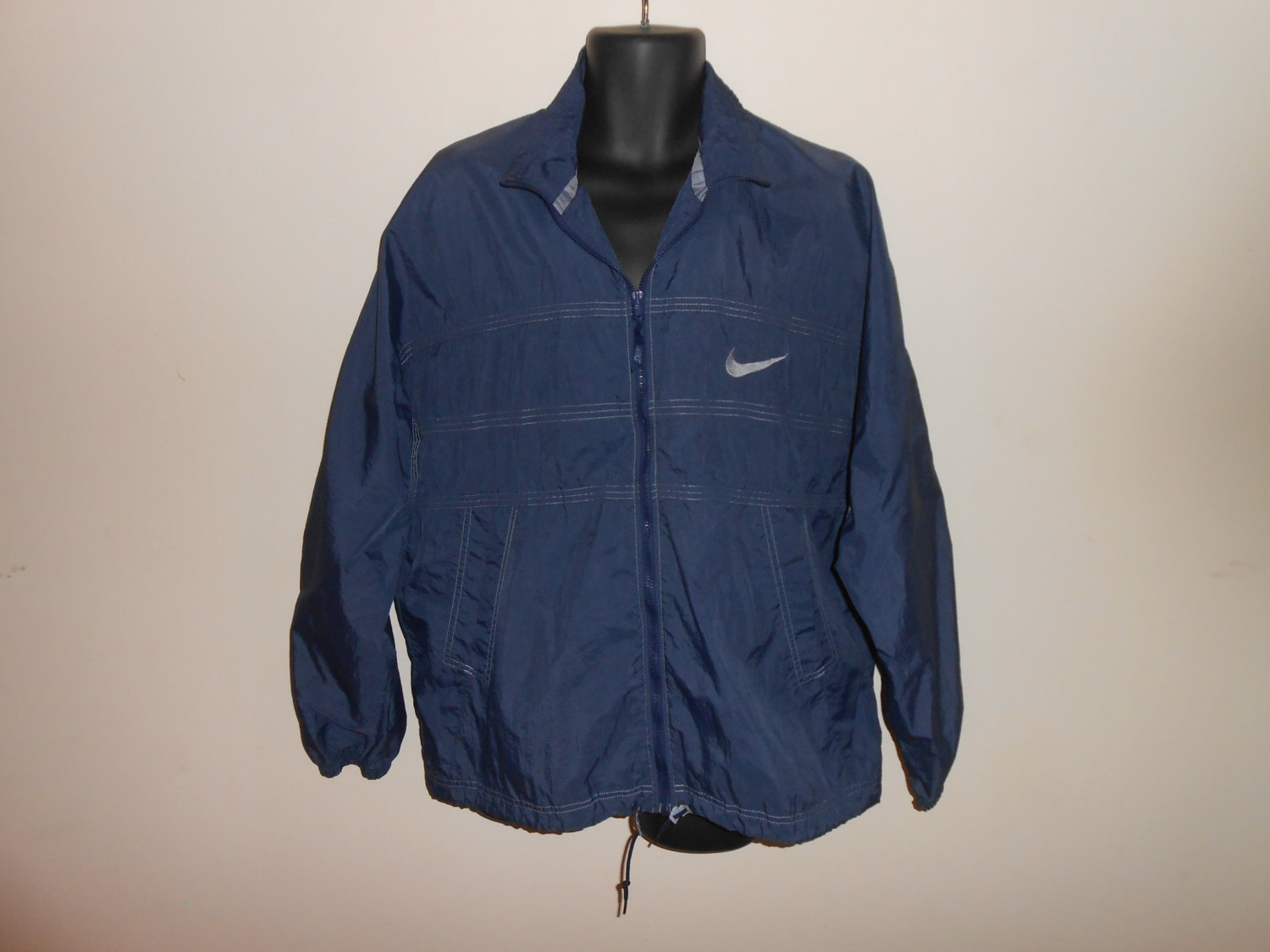Vintage 90s Nike Navy Blue Zip Up Windbreaker Jacket Sz L