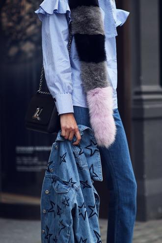 scarf tumblr fur scarf ruffle ruffle shirt blue shirt shirt striped shirt stripes denim jeans blue jeans denim jacket stars bag black bag louis vuitton embellished denim