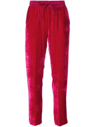 pants track pants women silk velvet red