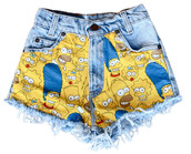 shorts,the simpsons,acid wash,yellow,spikes & seams,sway