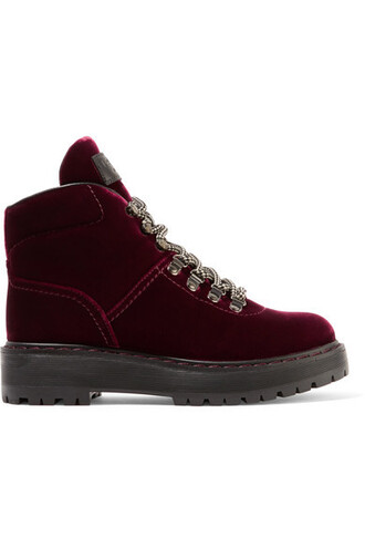velvet ankle boots boots ankle boots leather velvet burgundy shoes