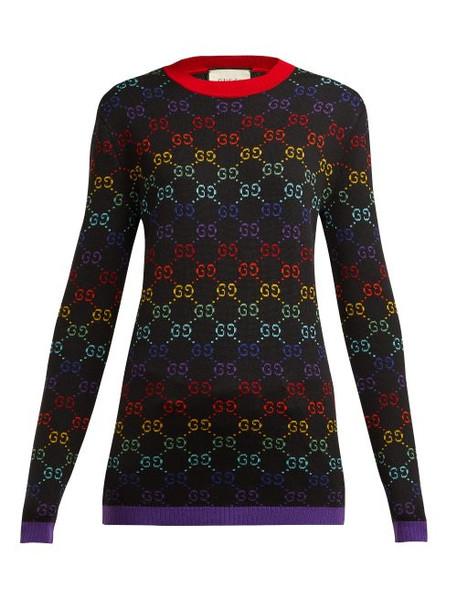 sweater wool sweater jacquard black wool